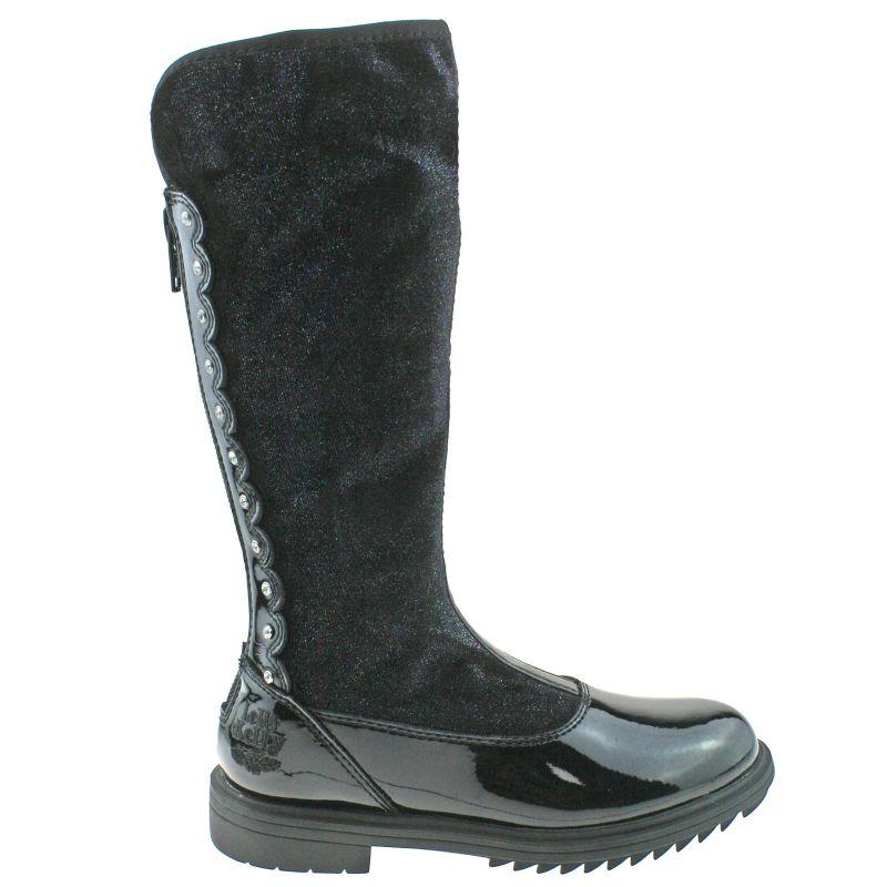 Lelli Kelly LK7664 (DB01) Chiara Alto Magiche Nero Vernice Diamante Zip Up Boots