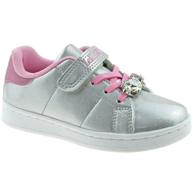 Lelli Kelly LK1828 (AH31) Molly Argento Metallic Stars Adjustable Trainer Shoes
