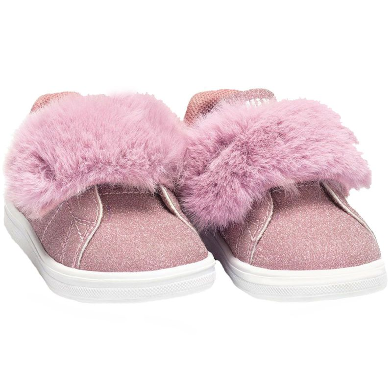 Lelli Kelly LK6808 (LC01) Poppy Rosa Glitter Faux Fur Adjustable Shoes