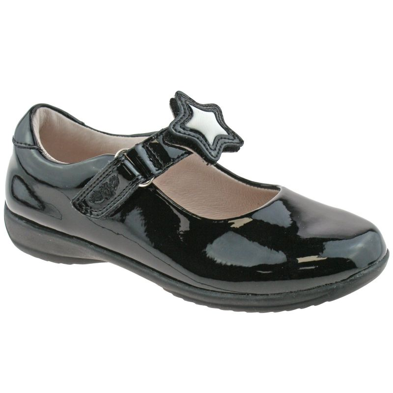 Lelli Kelly LK8600 (DB01) Colourissima Star Black Patent School Shoes F Fitting