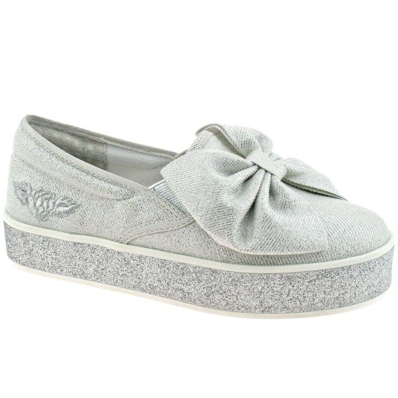 Lelli Kelly LK5604 (BA01) Bianco Silver Shimmer Grace Bow Slip On Shoes
