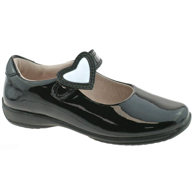 Lelli Kelly LK8540 (DB01) Colourissima Heart Black Patent School Shoes G Fitting