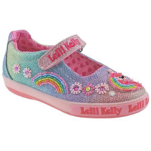 Lelli Kelly LK1082 (GX02) Rainbow Unicorn Multi Glitter Dolly Shoes