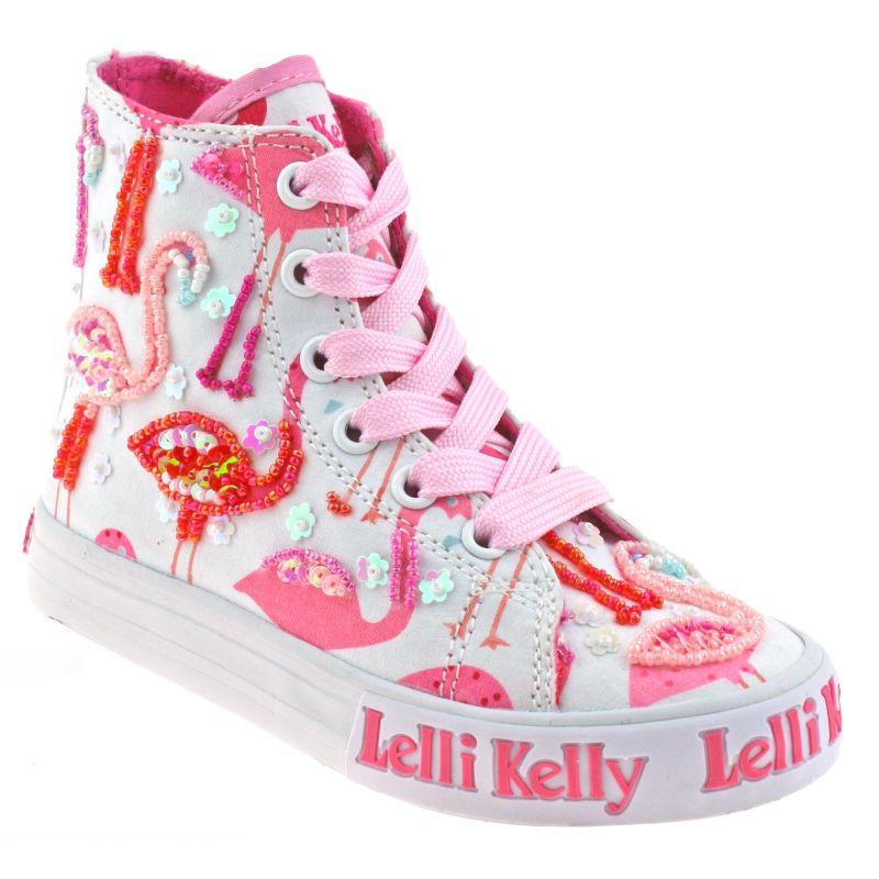 Lelli Kelly LK5090 (BA02) White Fantasy Flamingo Canvas Baseball Boots