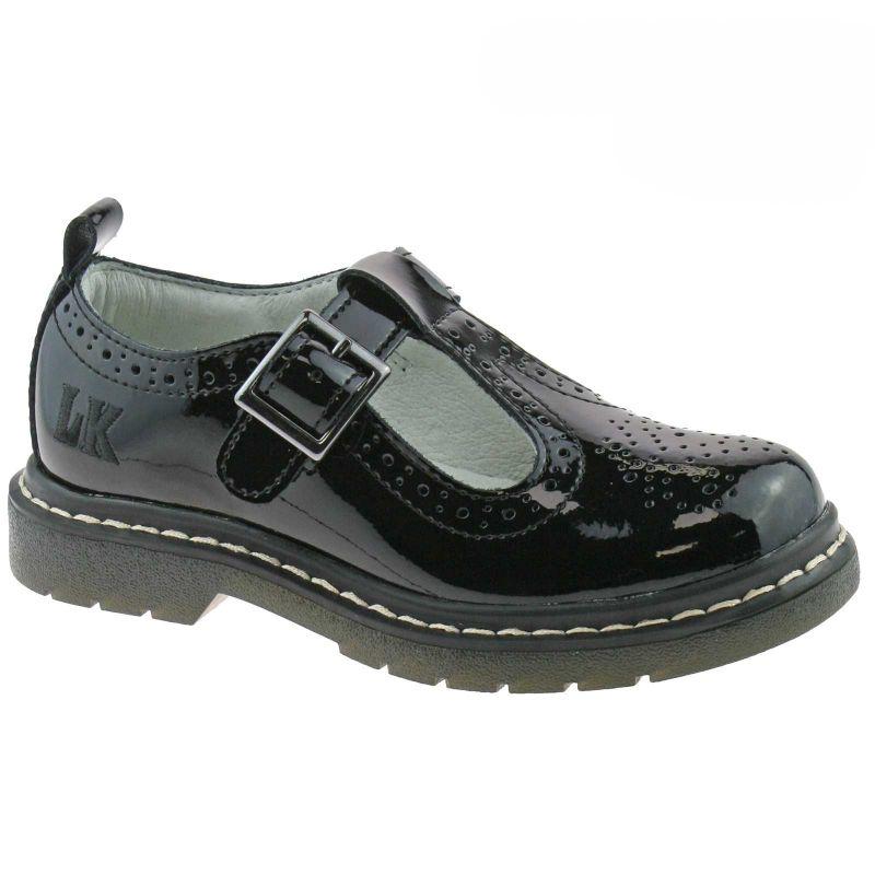 Lelli Kelly LK8292 (DB01) Meryl T Bar Brogue Black Patent School Shoes F Fitting
