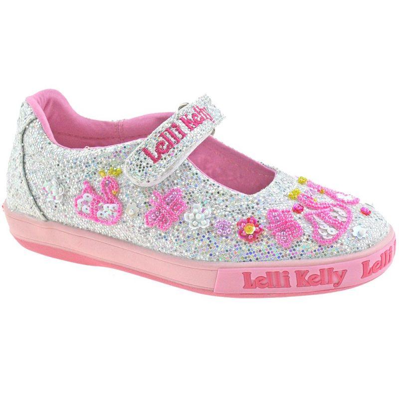 Lelli Kelly LK1074 (GH01) Leda Silver Glitter Swan Adjustable Strap Dolly Shoes