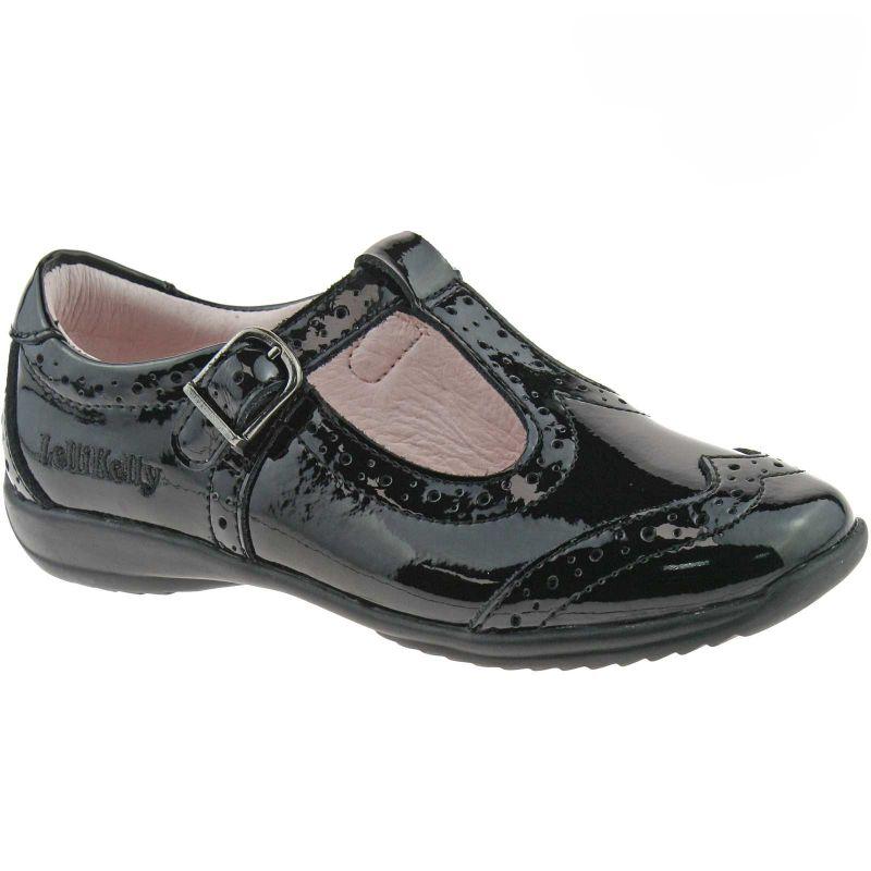 Lelli Kelly LK8216 (DB01) Jennette Black Patent T-Bar School Shoes F Width