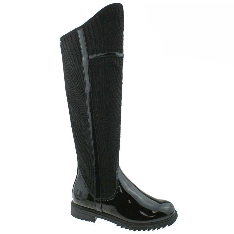 Lelli Kelly LK3650 (DBA3) Susan Black Vernice/Laminato Over the Knee Boots