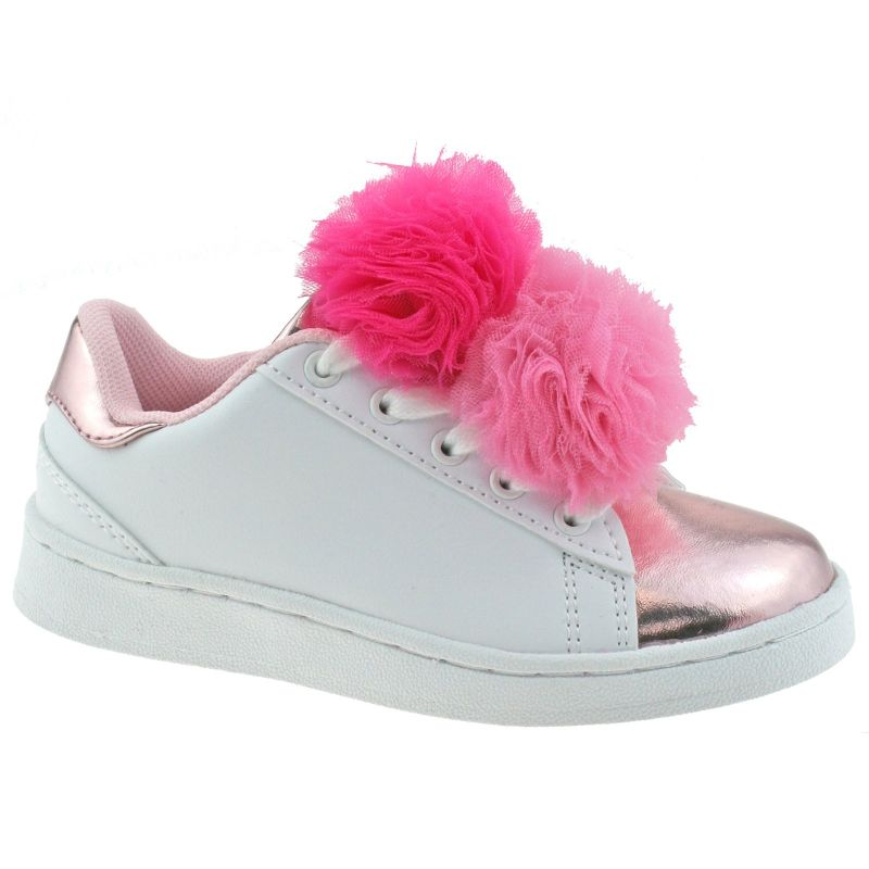 Lelli Kelly LK5826 (AA52) Bianco/Rosa Pon Pon Lace Up Trainer Shoes
