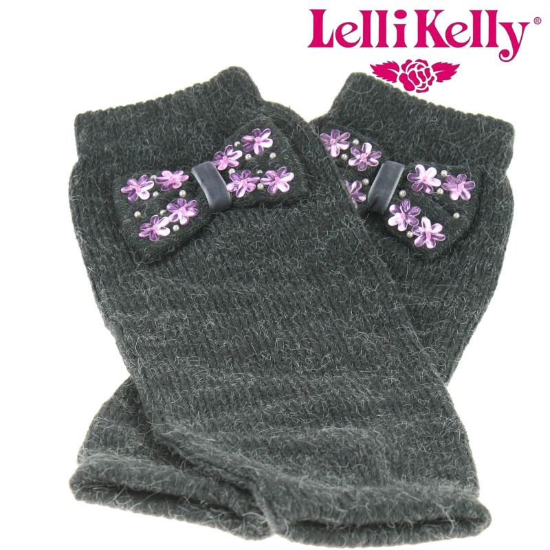 Lelli Kelly LK2210 Leg Warmers Mid Grey Bow