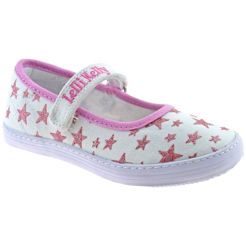 Lelli Kelly LK1318 (BA01) New Sprint Bianco Pink Star Canvas Shoes