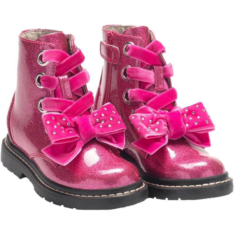 Lelli Kelly LK6522 (SN01) Fior Di Fiocco Glitter Fuxia Large Bow Ankle Boots