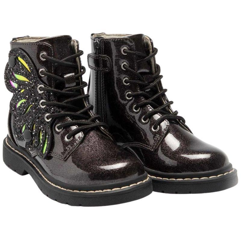 Lelli Kelly LK5544 (SB01) Ali Di Fata Nero Glitter Wings Ankle Boots