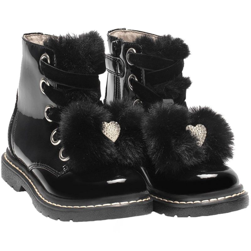 Lelli Kelly LK6520 (FB01) Fior Di Neve Black Patent Diamante Heart Ankle Boots