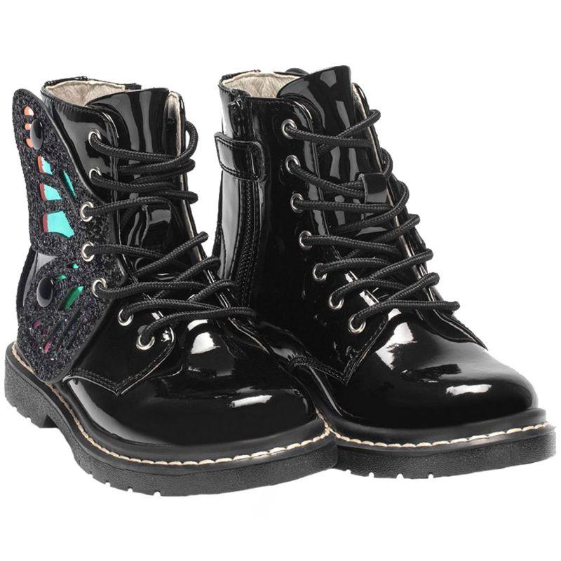 Lelli Kelly LK6540 (FB01) SNR Ali Di Fata Nero Vernice Glitter Wing Ankle Boots