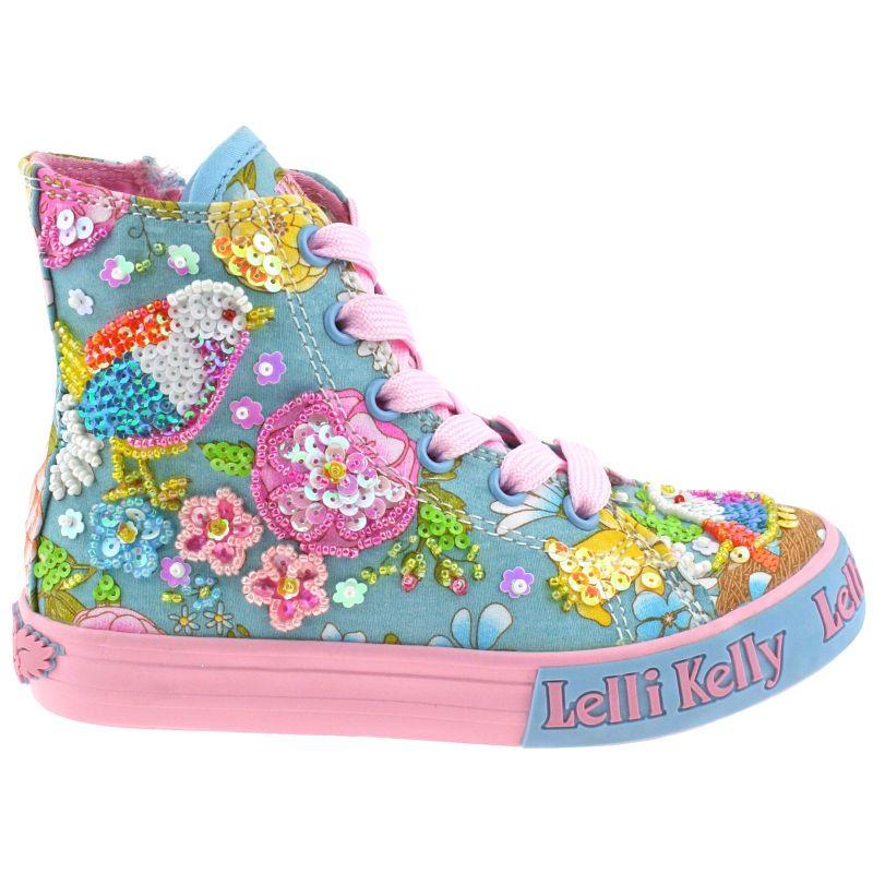 Lelli Kelly LK5092 (BO02) Turquoise Fantasy Birdie Canvas Baseball Boots