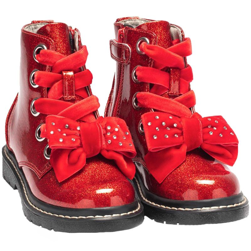 Lelli Kelly LK6522 (SD01) Fior Di Fiocco Glitter Rosso Large Bow Ankle Boots