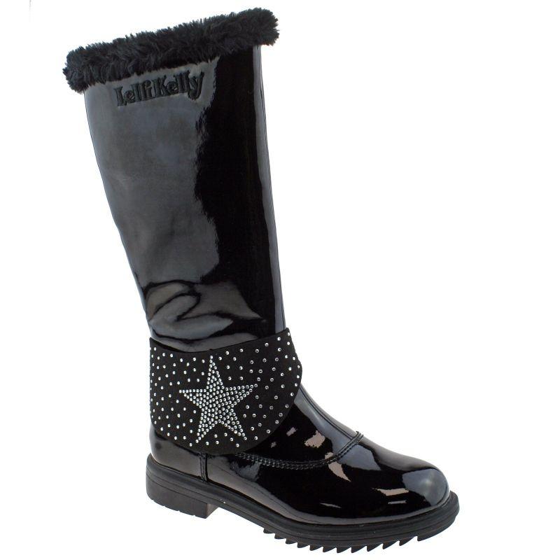 Lelli Kelly LK7642 (Db01) Betty Alto High Black Vernice Fur Lined Boots
