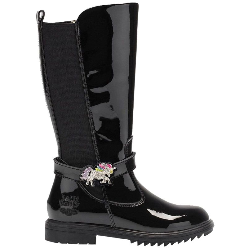 Lelli Kelly LK6664 (DB01) Marylin Nero Vernice Unicorn Tall Riding Boots