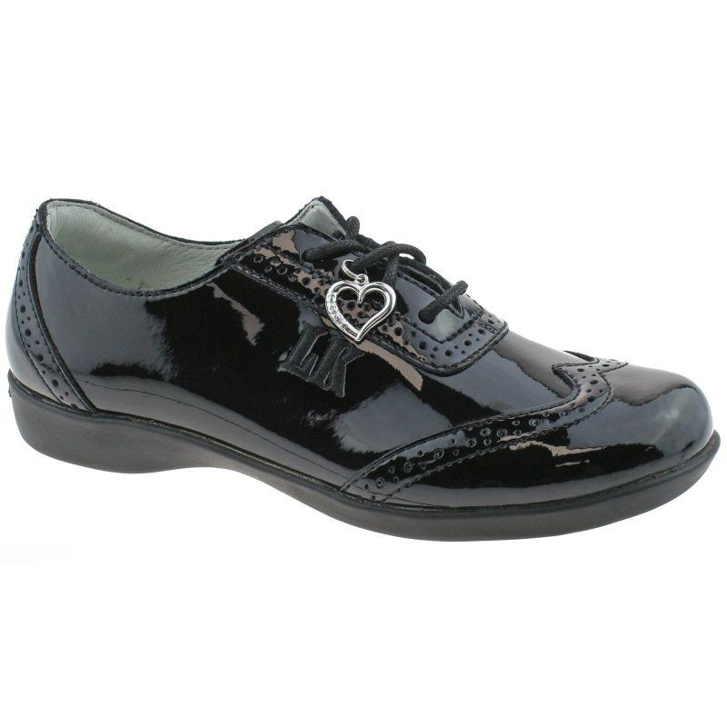 Lelli Kelly LK8281 (DB01) Kimberly Black Patent Brogue School Shoes F Width