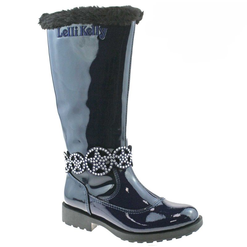 Lelli Kelly LK3694 (DE01) Ann High Blue Vernice Fur Lined Boots