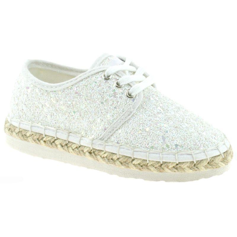 Lelli Kelly LK4608 (LA01) Bianco Glitter Ibiza Lightweight Espadrille Shoes