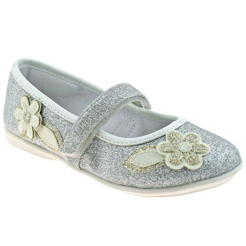 Lelli Kelly LK5706 (LH01) Glitter Argento Gaia Flower Dolly Shoes