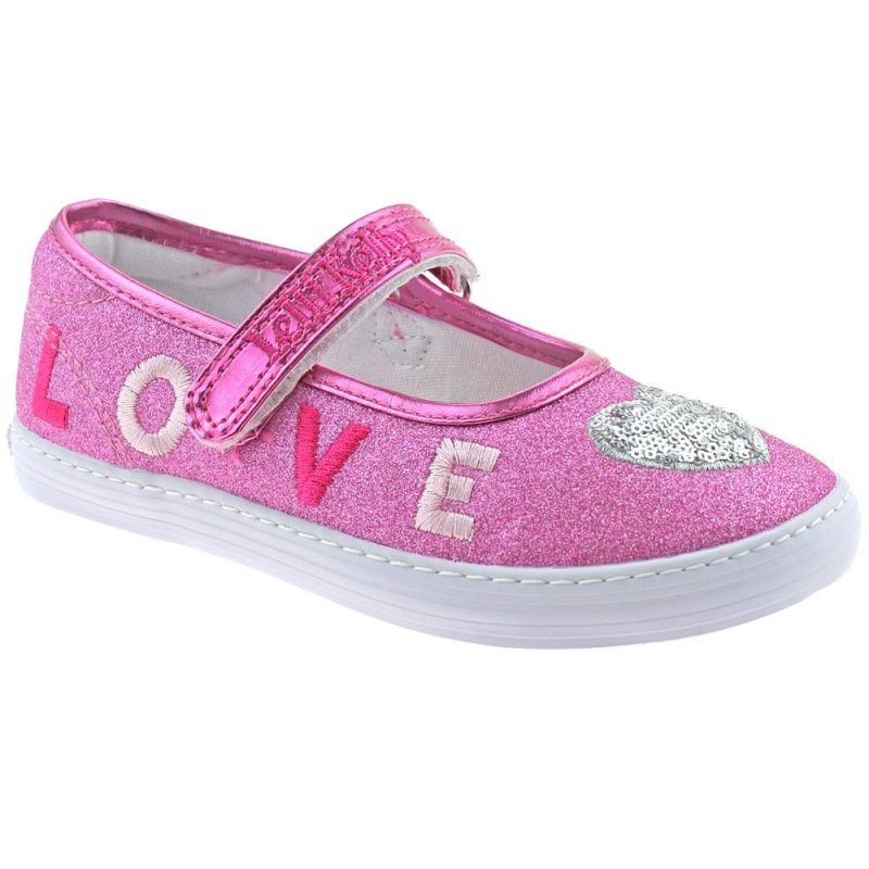Lelli Kelly LK1312 (BN01) New Sprint Fuxia Pink Shimmer LOVE Heart Shoes