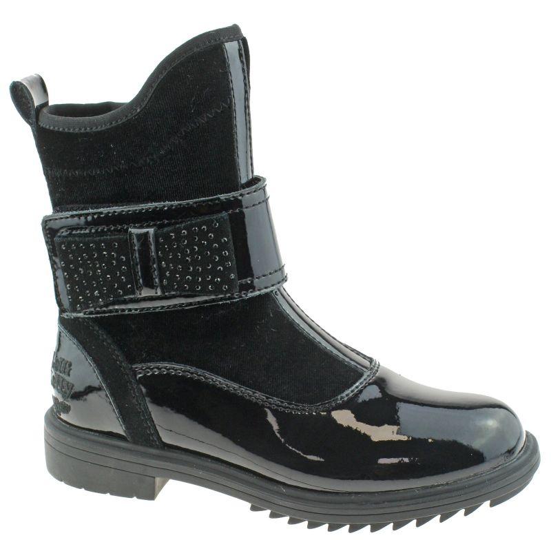 Lelli Kelly LK7652 (DB01) Cathrine Nero Vernice Glitter Bow Ankle Boots