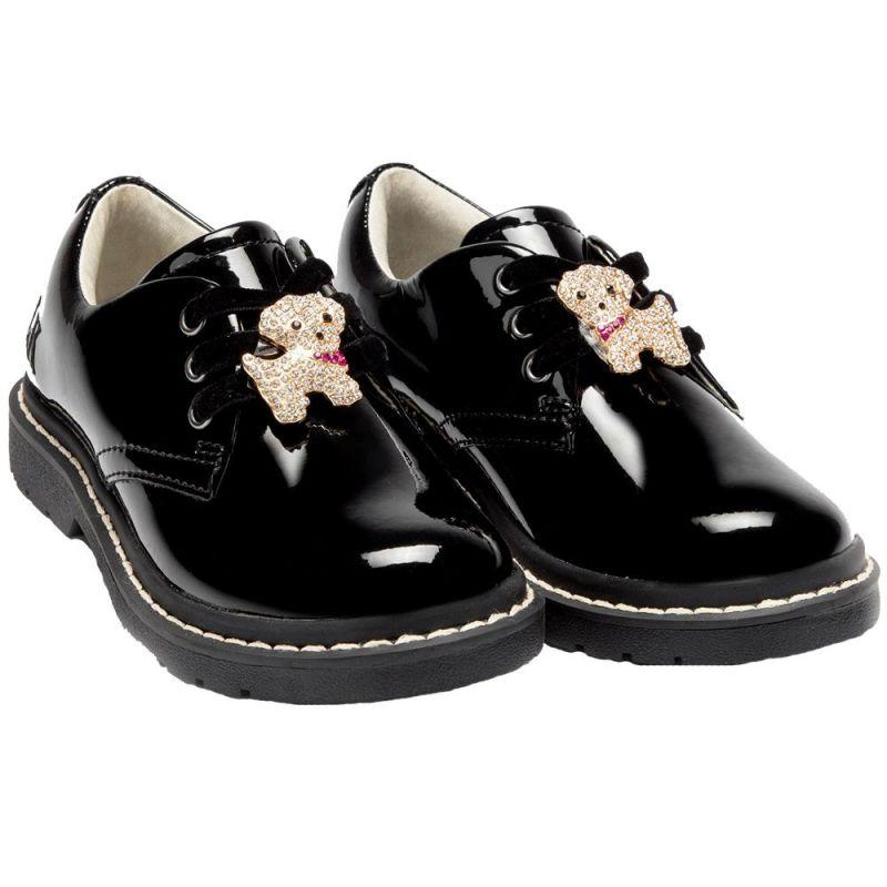 Lelli Kelly LK8290 (DB01) Marta Black Patent Lace Up School Shoes F Fitting