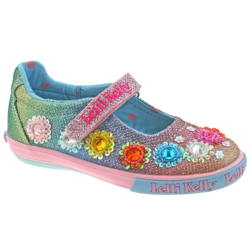Lelli Kelly LK5070 (GX02) Multi Glitter Rainbow Flowers Dolly Shoes