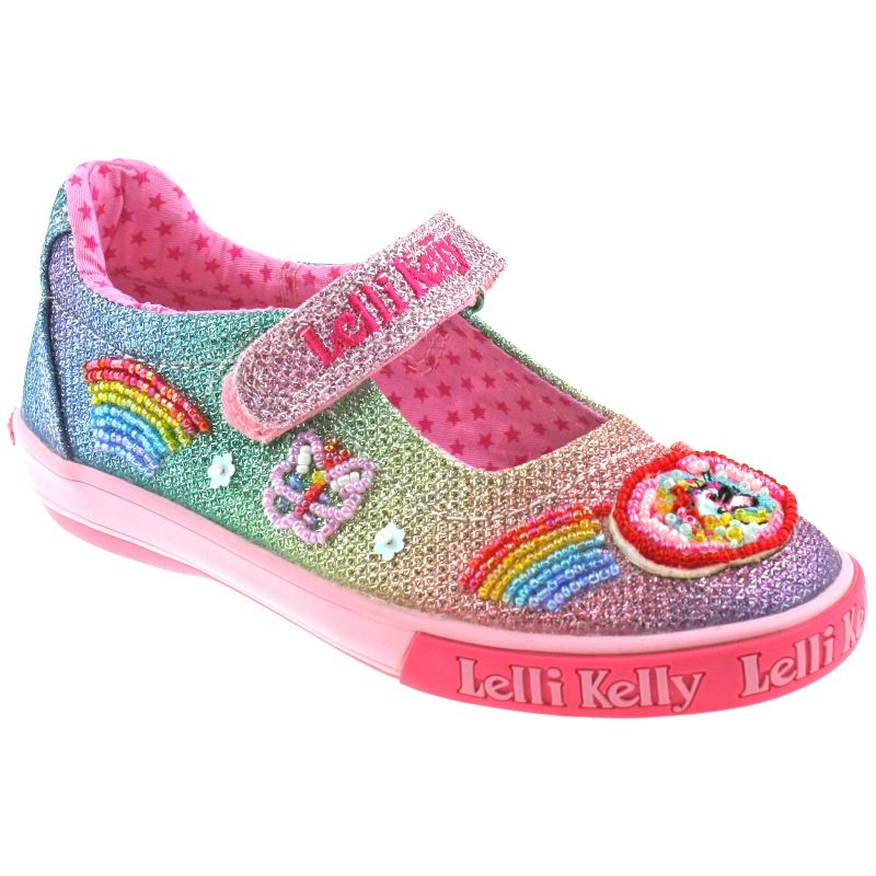 Lelli Kelly LK9070 (GX02) Multi Glitter Rainbow Sparkle Unicorn Dolly Shoes
