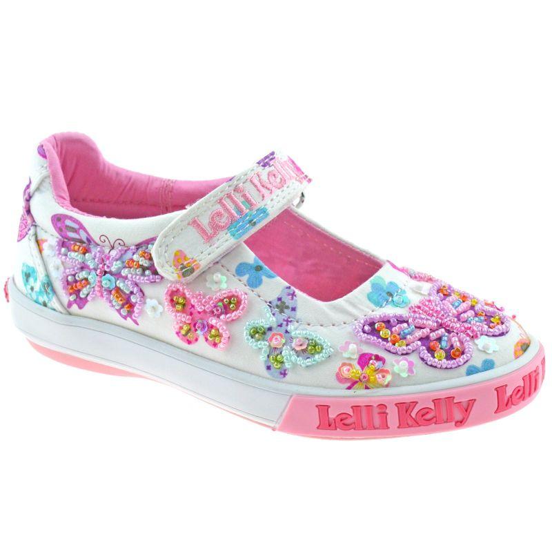 Lelli Kelly LK9066 (BA02) White Fantasy Butterfly Dolly Shoes