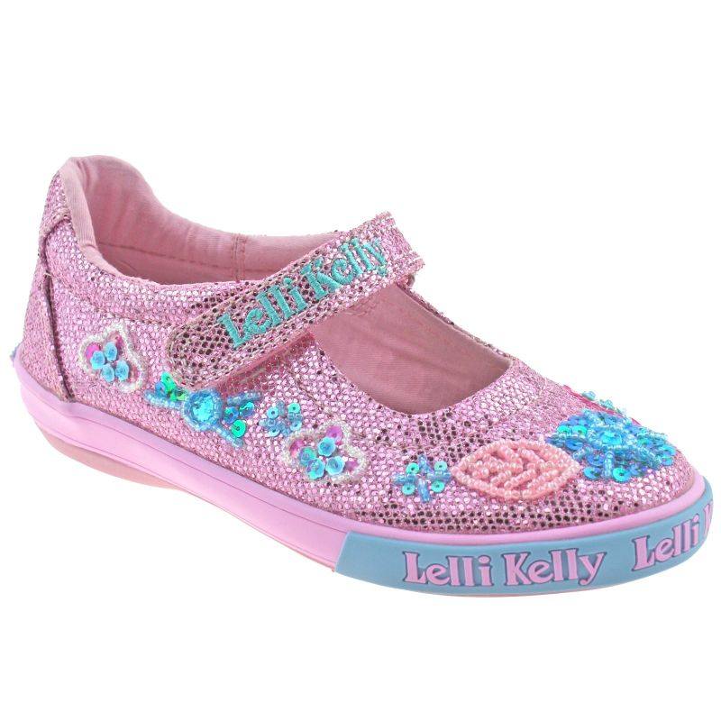 Lelli Kelly LK9080 (GC01) Pink Glitter Daisy Sparkle Adjustable Dolly Shoes