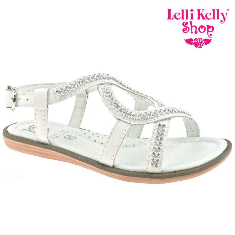 Lelli Kelly LK4438 (CA01) Pelle Bianco Doroty Diamante Sandals